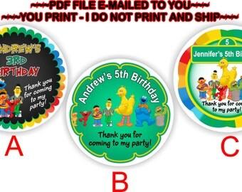 YOU PRINT - Personalized Birthday Stickers, Sesame Street Thank you stickers, Sesame Street cupcake toppers, Sesame Street Labels - BIRTHM20