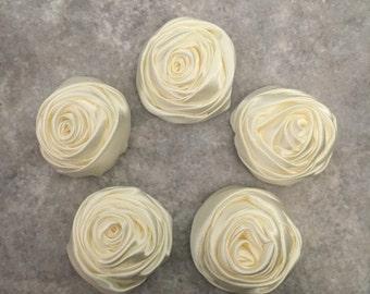 2 inch ivory rosette, cream satin flowers, headband supplies, roses, headband flowers, wedding flowers, silk flowers, rolled flowers, tan