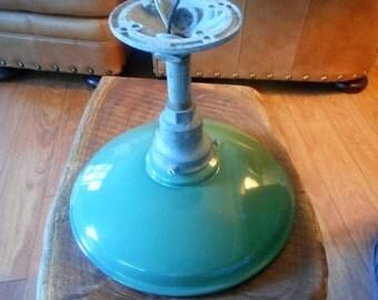 Vintage green porcelain gas station light. Rural S.C. gas station light