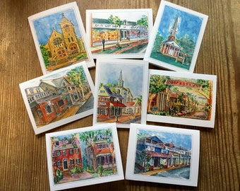 "Moorestown Medley Box of 8 Note Cards; 4.25"" x 5.5;"" Plastic Box"