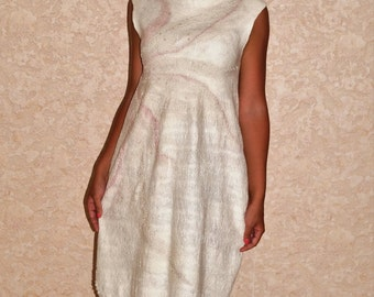 "Dress nunovojlok ""cream"" Felted dress ""Cream"" sold"