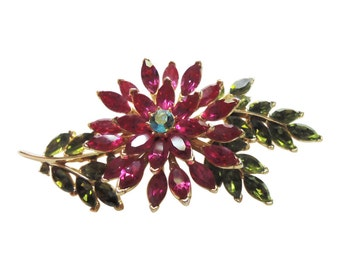 Large Pink Flower Spray Brooch/Pin Vintage 1950 Crown Trifari