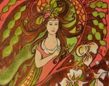 Art Nouveau Girl with an iPhone!, Digital File .jpg, Quirky ironic art, Fresh Fun Art, Pink red & green Decor, Original Art Download, Mucha