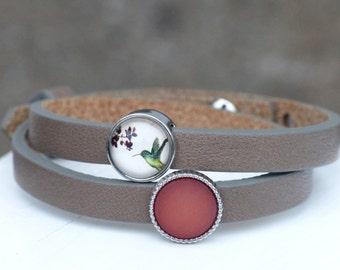 Leather bracelet with small hummingbird