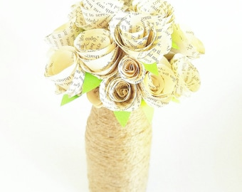 Book paper bouquet made from vintage books with twine wrapped jar. Wedding bouquet or home decoration. New home owner decor