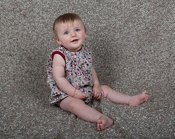 Burgundy Floral Print Baby Girl Romper 12-18  Months