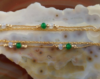 Natural Emerald & White Opal Bracelete - High Quality Goldfilled Bracelete - 3 years warranty
