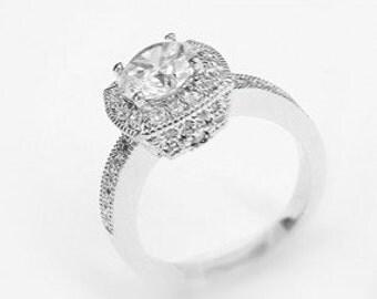 Cushion Crystal Cut Engagement Ring
