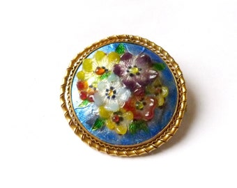 vintage art deco brooch pin flower enamels of the vivarais