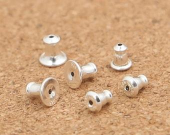 15 Sterling Silver Earnuts, Sterling Earnuts, Sterling Ear Stoppers, Barrel Ear Nuts, Earring Components, Earring Clutch Earnuts - E343