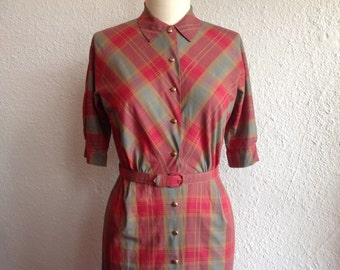 1950s plaid shirtdress with pencil skirt