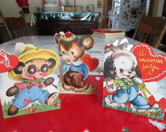 3 Wonderful 1940's Animal Valentines