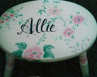 oval flower step stool, hand painted step stool, new baby gift, personalized baby gift, step stools