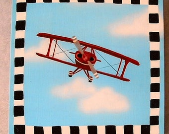red bi-plane wall art, kids wall art, children's paintings
