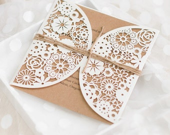 10 Rustic Laser Cut Pocket With Twines  Wedding Invitation Set: Invitation, RSVP, Direction, Thank You Card