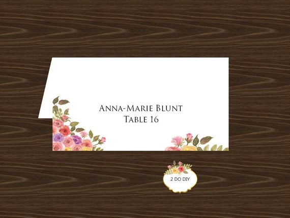 wedding place card template flowers fold over by 2dodiy. Black Bedroom Furniture Sets. Home Design Ideas