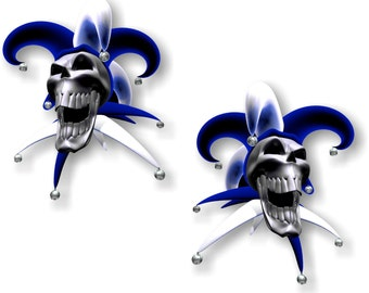 Vinyl sticker/decal Jester laughing skull blue
