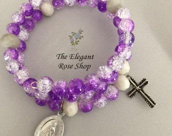 Beautiful Rosary Wrap Bracelet in Purple