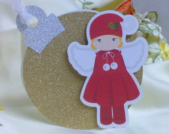 Gold Sparkle Ornament Christmas Card , angels , ribbon , boy, girl, holiday, season greetings , silver