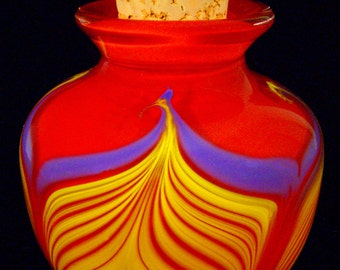 """Pretty Red Feathered """"Honey """" Jar"""