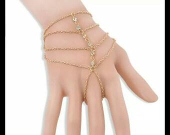 Gold Rhinestone Hand Chain