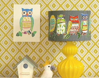 Australian Made Lampshade, Owl Toile 31x21cm, Available in 4 Colours and 2 Fittings, Made to Order 1-2 weeks
