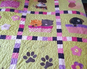 "Quilt (Patchwork) Puppies and Kitties - Made to Order - Twin Size (70"" x 83"")"
