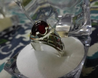 Mens Black Real Aqeeq/ agate ring Sterling Silver 925 Unheated Untreated  yemeni dark deep blood red
