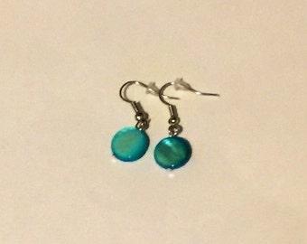 Blue Beaded earrings - blue earrings - blue beads