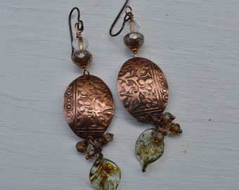 Etched Copper  Earrings ORRTEC - DayLilyStudio