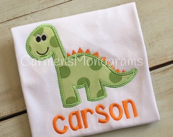 Personalized Dinosaur Applique on Tshirt or Bodysuit