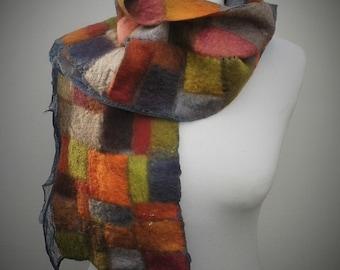 Autumnal nuno felt scarf