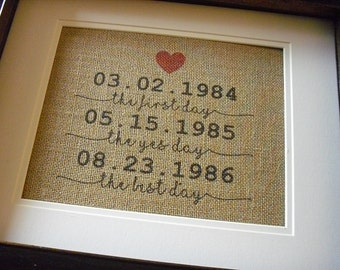 Special Dates Wall Art, The First Day The Yes Day, Wedding Day, Burlap Housewarming, Burlap Prints Personalized, Special Dates Sign