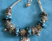 Mermaid Charm Bracelet- European Charm Bracelet- Ariel's Bracelet- Once Upon a Mermaid- Valentine Jewelry- Murano Glass Bracelet