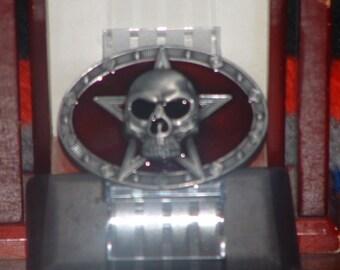 New Death Skull Head  Pewter Finish Belt Buckle