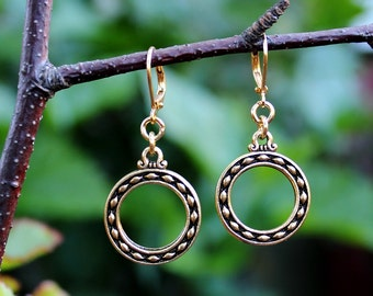 Gold Hoop Dangle Earrings.Metal.Gold.Drop.Statement.Infinity.Circle.Dainty.Bridal.Valentine.Mother's.Graduation.Birthday.Gift.Handmade.
