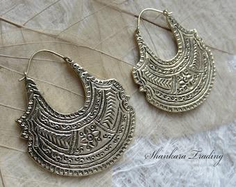 Tribal Brass Earrings, Gypsy Hoop Earrings, Ethnic Earrings, Brass Tribal Earrings, Boho Earrings, Indian Earrings, Brass Hoop Earrings