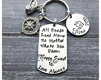 Graduation Keychain, Sweet 16 Keychain, Teen Driver, All Roads Lead Home Keychain, Leaving Home  gift, Long Distance Keychain,