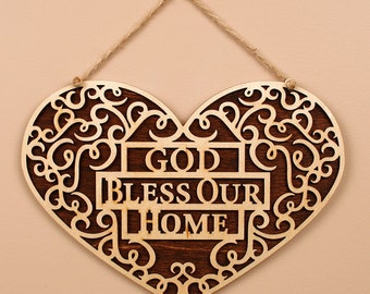 God Bless Our Home - Wooden Wall Hanging Plaque