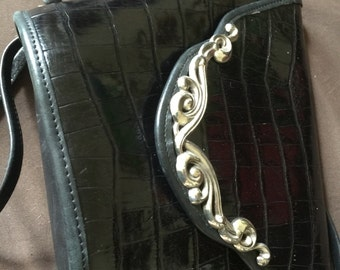 Vintage Sarah Brighton Purse Bag Black Leather