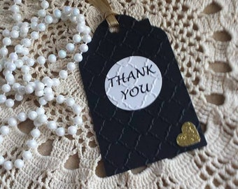 Black THANK YOU TAGS, Black Gold Tags, 12 Embossed Gold Heart Tags, Wedding Birthday, Bridal Shower Handmade Tags, Elegant Tags, Gift Tags
