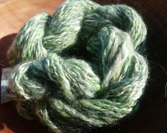Handspun Yarn, organic mohair, llama, bamboo, chlorophyll-dyed wool, 46 yards