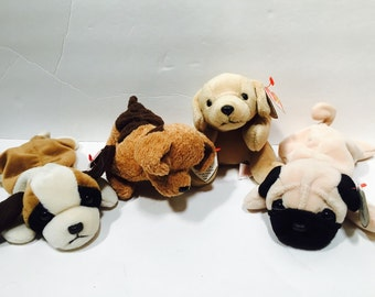 Vintage (1997/ 1996) Ty Beanie Baby dogs - set of four