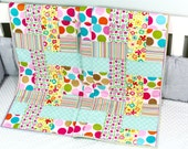 Baby Quilt, Handmade Quilt, Modern Quilt, Pink and Aqua Quilt, Baby Gift, Newborn Gift, Baby Shower Gift, Holiday Baby Gift, Girl Quilt