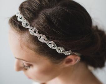 Silver Rhinestone Bridal Headband   Silver Wedding Hair Band   Wedding Hair Accessories   Bridal Hair   Chloe Headband - Silver