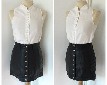Leather miniskirt 80 years-leather skirt Buttoned Front-Vintage Leather Skirt size S