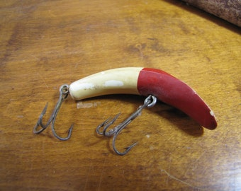 Vintage Fishing Lure - Red and Cream