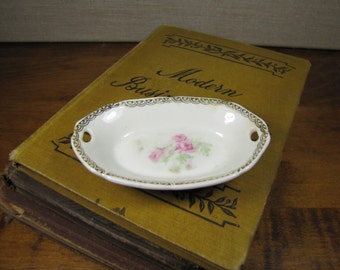 Tiny Oval Porcelain Trinket Dish - Pink Roses - Gold Accent - Made in Bavaria
