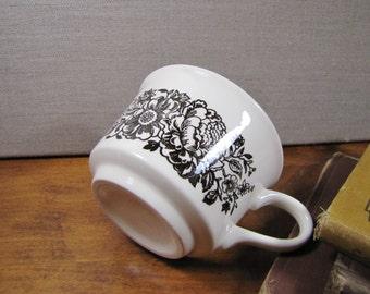 Vintage Brown and White Floral Pattern Coffee Mug