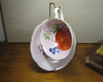 Celebrate Hand Painted Teacup and Saucer - Fruit and Berries - Made in Japan